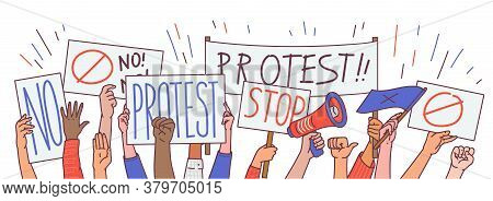 Protest With Hands And Political Placards Cartoon Vector Illustration Isolated.