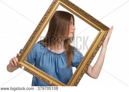 A Young Girl With Long Hair In A Blue Dress. Isolated On A White Background