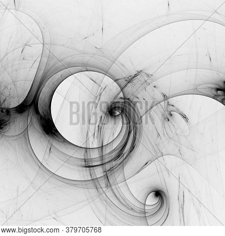 Black Wisted Cosmic Lines Flying In The Space. Turbulence Curls Flow Colorful Motion. Fluid And Smoo