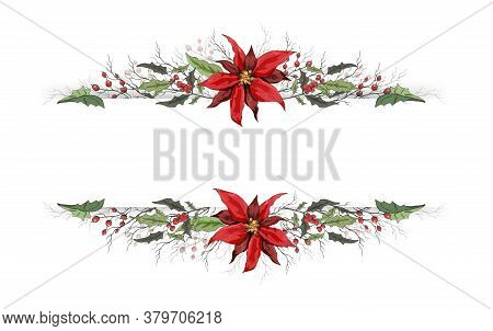 Fashionable Floral Banner Holly And Poinsettia Winter Symbol Of Winter. Handmade Doodling, In Realis