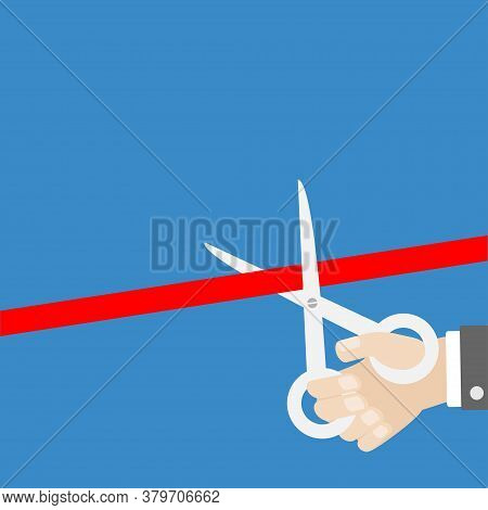 Businessman Hand Scissors Cut The Straight Red Ribbon. Grand Opening Ceremony. Inauguration Flat Des
