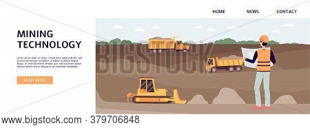 Industrial Mining Quarry With Worker Managing Trucks And Bulldozer