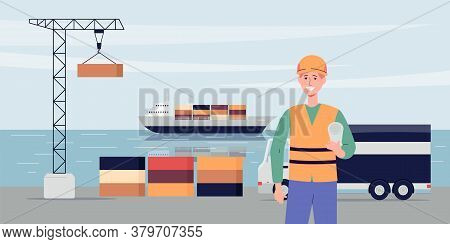 Export Ship Port Background With Ship And Crane, Flat Vector Illustration.