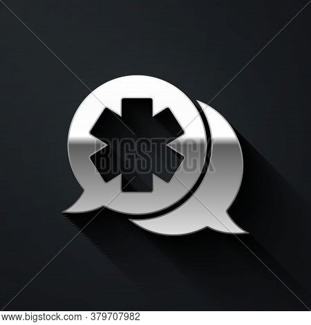 Silver Dialogue With The Doctor Icon Isolated On Black Background. Doctor And Patient Dialog. Consul