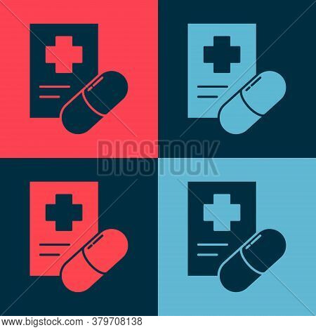 Pop Art Medical Prescription Icon Isolated On Color Background. Rx Form. Recipe Medical. Pharmacy Or