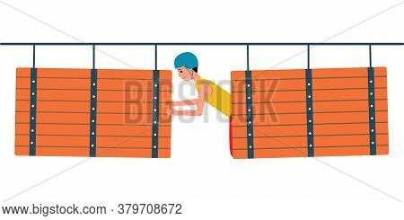 Man Overcomes An Obstacle In Rope Park, Flat Vector Illustration Isolated.