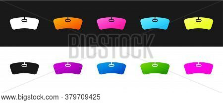 Set Windshield Icon Isolated On Black And White Background. Vector Illustration