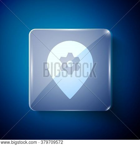 White Location With Car Service Icon Isolated On Blue Background. Auto Mechanic Service. Repair Serv