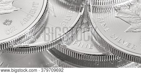 Macro Close Up Of A Silver Canadian Maple Leaf Bullion Coin