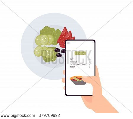 Calorie Count App On Phone Screen Over Green Salad Dish