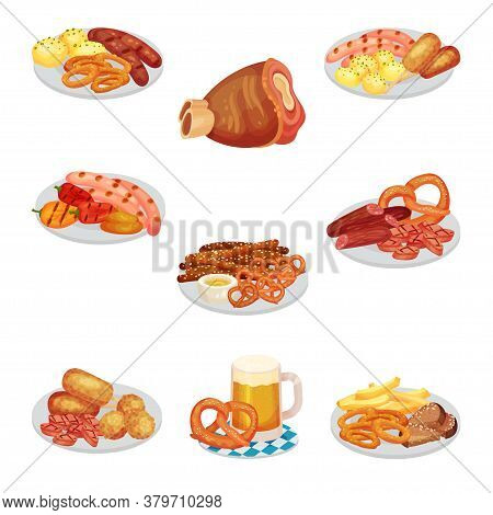 Festive Food For Oktoberfest Celebration With Grilled Sausages And Pretzel Rested On Plates Vector S