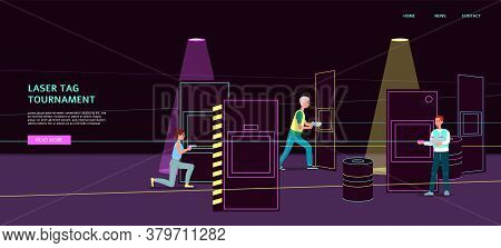 Laser Tag Tournament Banner With Cartoon People In Dark Room Interior