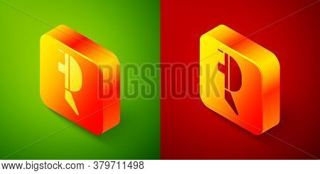 Isometric Fencing Helmet Mask Icon Isolated On Green And Red Background. Traditional Sport Defense.