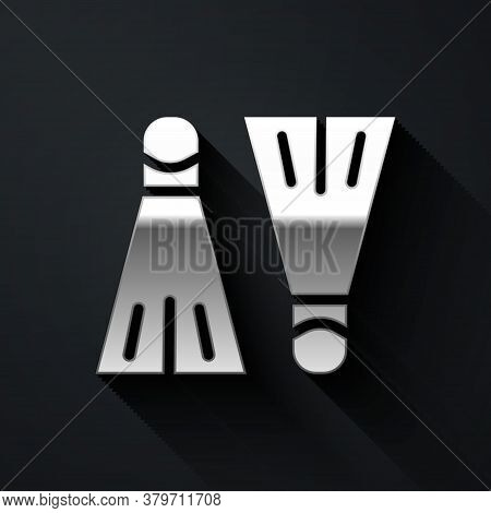 Silver Rubber Flippers For Swimming Icon Isolated On Black Background. Diving Equipment. Extreme Spo