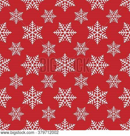 White Snowflakes On Red Background Seamless Pattern. Vector Christmas Polka Dot Snowflakes Pattern.