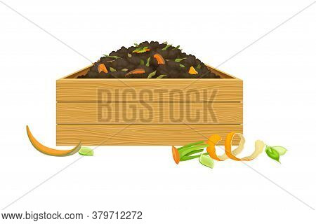Rotten Vegetables Piled In Wooden Crate As Organic Fertilizer For Soil And Plant Growth Vector Illus