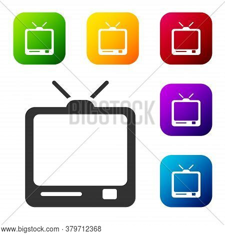 Black Retro Tv Icon Isolated On White Background. Television Sign. Set Icons In Color Square Buttons