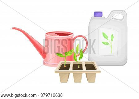 Can With Synthetic Fertilizer For Soil And Plant Growth And Watering Can Vector Illustration