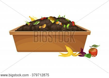 Rotten Fruit And Vegetables Piled In Wooden Crate As Organic Fertilizer For Soil And Plant Growth Ve