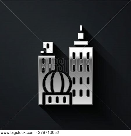 Silver City Landscape Icon Isolated On Black Background. Metropolis Architecture Panoramic Landscape