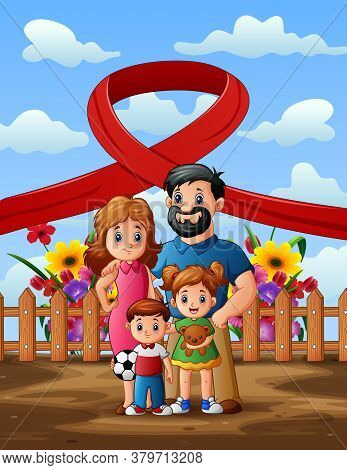 Happy Aids Day With Family Members Illustration