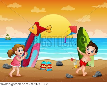 Happy Kids Playing Kite On The Beach Illustration