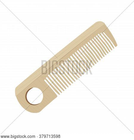 Wooden Hair Comb, Hand Carved Of Light Wood Isolated On White Background. Flat Design Style. Tool Fo