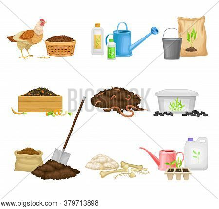Organic Fertilizer Piles And Packs As Natural Nutrients For Soil And Plant Growth Vector Set