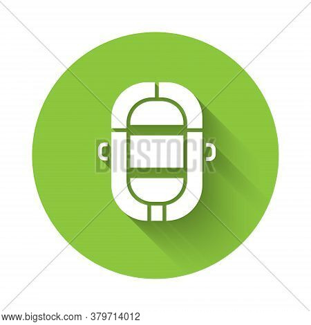 White Rafting Boat Icon Isolated With Long Shadow. Inflatable Boat. Water Sports, Extreme Sports, Ho
