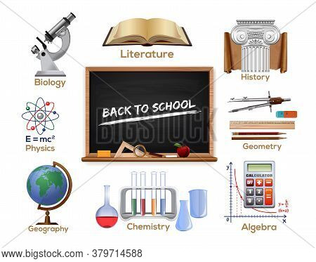 Set Colored School Subjects Icons - Biology, Literature, History, Geometry, Geography, Chemistry, Ma