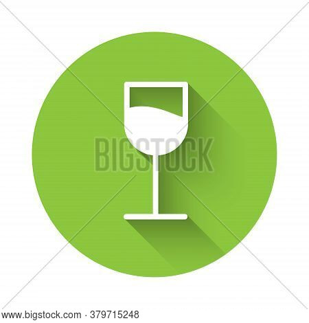 White Wine Glass Icon Isolated With Long Shadow. Wineglass Sign. Green Circle Button. Vector Illustr