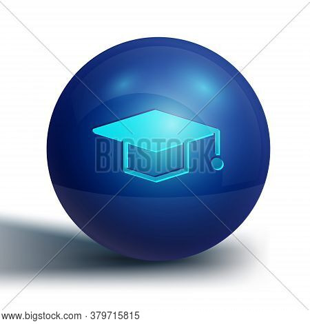 Blue Graduation Cap Icon Isolated On White Background. Graduation Hat With Tassel Icon. Blue Circle
