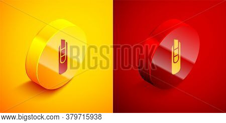 Isometric Stationery Knife Icon Isolated On Orange And Red Background. Office Paper Cutter. Circle B