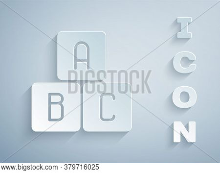Paper Cut Abc Blocks Icon Isolated On Grey Background. Alphabet Cubes With Letters A, B, C. Paper Ar