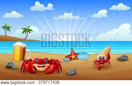 Tropical Beach With Crabs On Sand Illustration