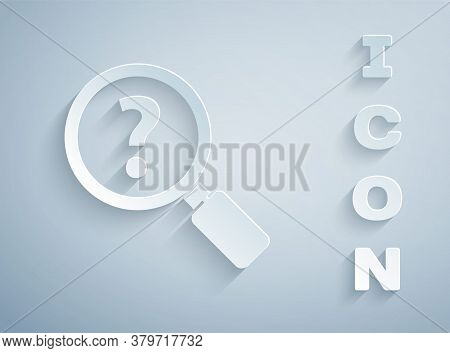 Paper Cut Unknown Search Icon Isolated On Grey Background. Magnifying Glass And Question Mark. Paper