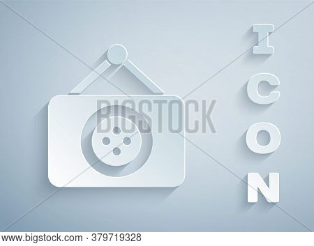 Paper Cut Tailor Shop Icon Isolated On Grey Background. Paper Art Style. Vector Illustration