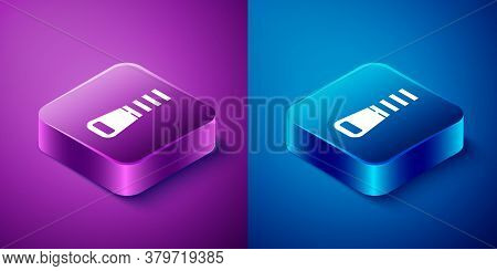 Isometric Zipper Icon Isolated On Blue And Purple Background. Square Button. Vector Illustration