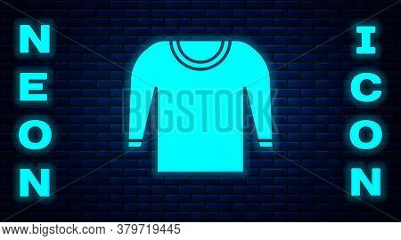 Glowing Neon Sweater Icon Isolated On Brick Wall Background. Pullover Icon. Vector Illustration