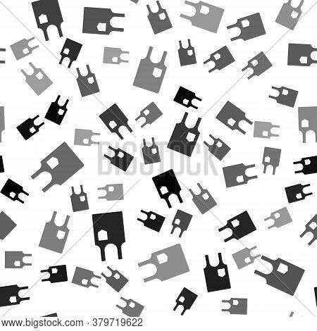 Black Sleeveless T-shirt Icon Isolated Seamless Pattern On White Background. Vector Illustration