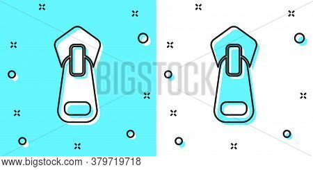 Black Line Zipper Icon Isolated On Green And White Background. Random Dynamic Shapes. Vector Illustr