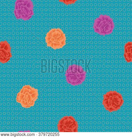 Vector Small Carnation Flowers In Purple Orange Red Scattered On Turquoise Blue Background Seamless
