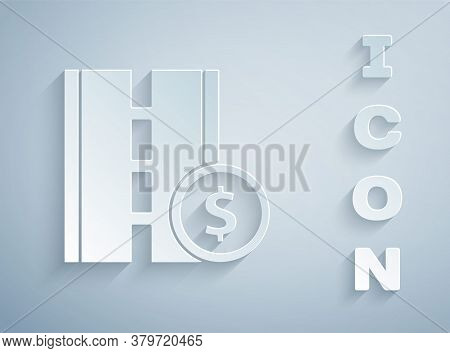 Paper Cut Toll Road Traffic Sign. Signpost Icon Isolated On Grey Background. Pointer Symbol. Street
