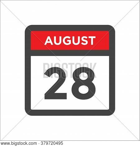 August 28 Calendar Icon With Day And Month