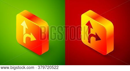 Isometric Road Traffic Sign. Signpost Icon Isolated On Green And Red Background. Pointer Symbol. Iso