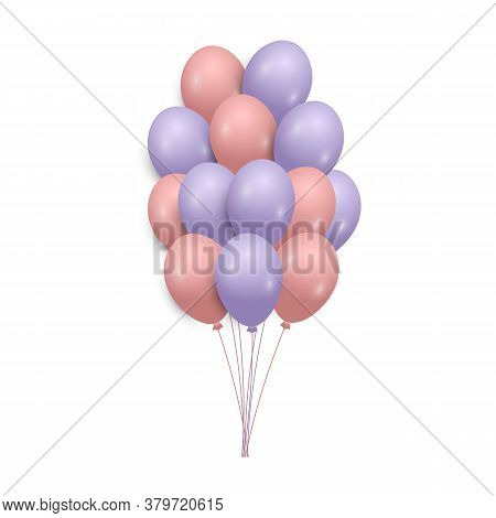 Bunch Of Realistic Pink And Blue Helium Balloons Isolated On White Background. Party Decorations For