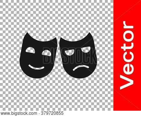 Black Comedy And Tragedy Theatrical Masks Icon Isolated On Transparent Background. Vector Illustrati