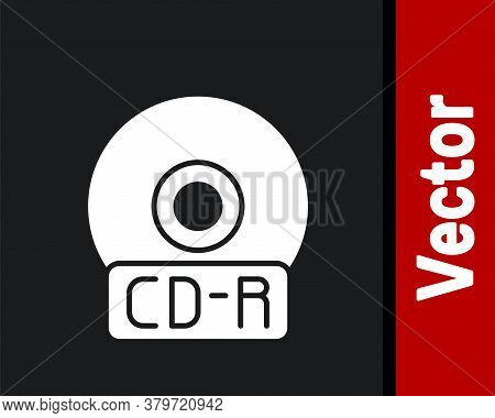 White Cd Or Dvd Disk Icon Isolated On Black Background. Compact Disc Sign. Vector Illustration