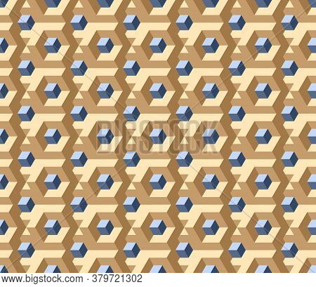 Vector, Seamless Three D Image In Beige Colors. In The Center Is A Gray-blue Square Labyrinth, Funny