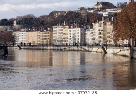 City of Lyon reflected in the saone river
